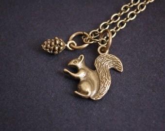 bronze tone squirrel pinecone necklace