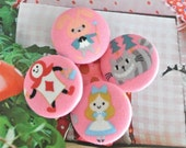 Fabric Buttons, Kawaii Pink Alice In Wonderland Rabbit Fabric Covered Buttons, Kawaii Alice In Wonderland Fridge Magnets, 1.2 inches 4's