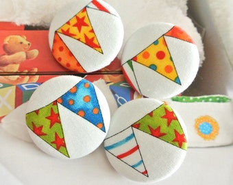 Fabric Covered Buttons, Large Colorful Geometric Party Carnival Circus Children Fabric Covered Buttons, Party Fridge Magnets, 1.5 Inches 4's