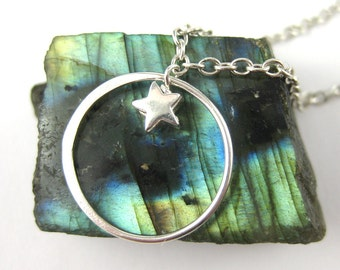 Circle Pendant Star Necklace Moon and Star Pendant Necklace Sterling Silver