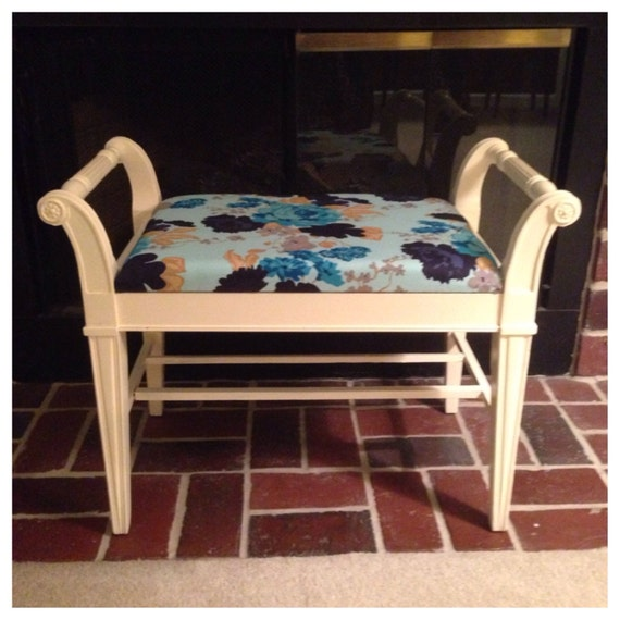 Shabby Chic Bench Vanity Bench Refinished Furniture Vanity