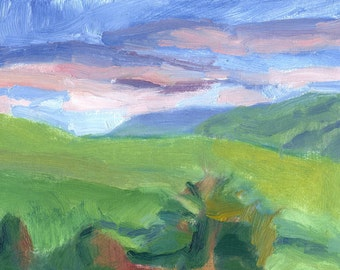 painting landscape oil on canvas small 6x8 expressive Tree and Distant Hills