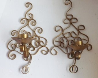 Pair Vintage Hollywood Regency gold sconces scrolled metal candle holders modern farmhouse decor