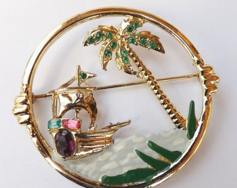Vintage tropical pirate ship rhinestone enamel brooch rhinestone palm tree  pot metal jewelry