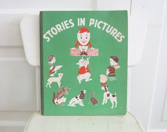 Vintage Child Workbook Picture Book Stories Green Ephemera Fifties