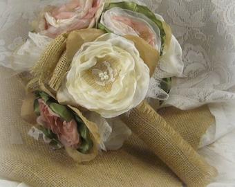 Dusty Rose Burlap Bouquet  By Burlap And Bling Design Studio