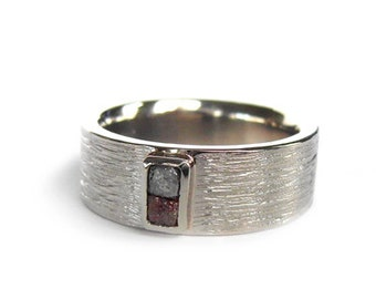Raw Diamond Wedding band, Handmade wedding ring with diamond cube in recycled Gold, Palladium Platinum