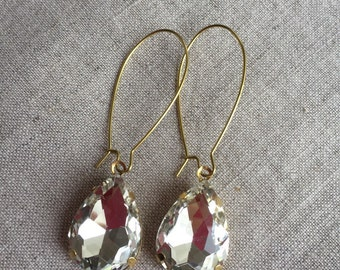 Vintage Crystal Rhinestone Earrings, Bridal Jewelry, Prom Jewelry, Statement Earrings