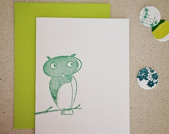 SALE! Vintage Owl Letterpress Card