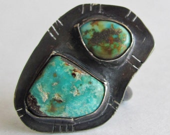Turquoise Ring - Size 8 Ring - Old Stock Turquoise Ring - Statement Ring - Modern Turquoise Jewelry