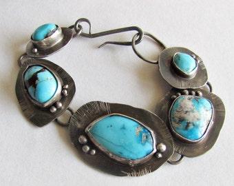 Turquoise Link Bracelet -Turquoise Jewelry - Handmade Turquoise Bracelet