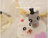 cat and  kitty Wedding Cake Topper---k817