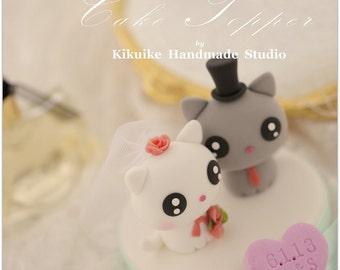 cat wedding cake topper,  kitty Wedding Cake Topper---k865