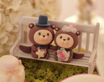otter wedding cake topper,ocean theme Wedding Cake Topper---k619