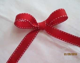 "Red with White Stitch  5/8"" Wide Grosgrain  1 yard"