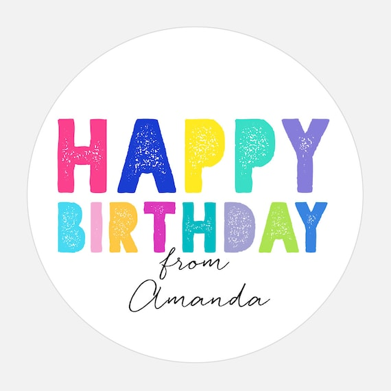Personalized Happy Birthday stickers Happy Birthday Gift