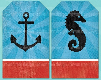 NAUTICAL TAGS Printable LARGE Tags Digital Collage Sheet Anchor Seahorse Lighthouse - no. 0214