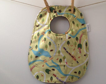 Train Baby Bib - Oversize Baby Bib with Snaps