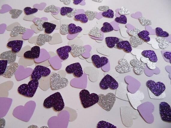 Glitter viola e argento cuore coriandoli di thepartyhaven su etsy