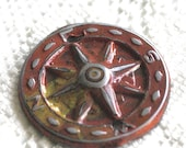 Embossed and Patinated Compass, Compass Component, Handmade Orange Component