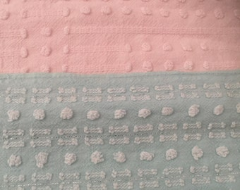 Morgan Jones popcorn Aqua and Ballet Pink chenille. Vintage fabric piece