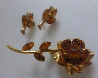 Vintage Topaz Rhinestone Flower Brooch and Clip On Earrings
