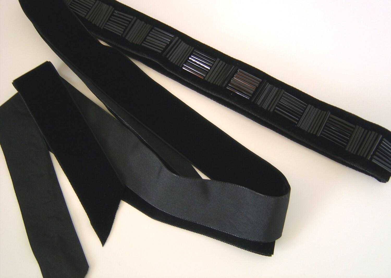 black beaded velvet belt bridesmaid sash belt beaded