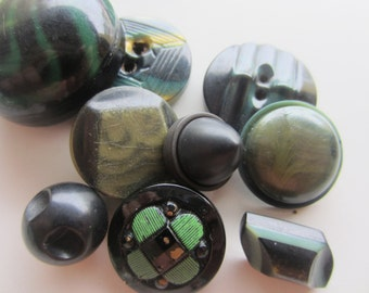 Vintage Buttons - Lot of 9 Mid Century Modern, black and green, celluloid and 1 glass, novelty, 50's Retro, (mar 340)