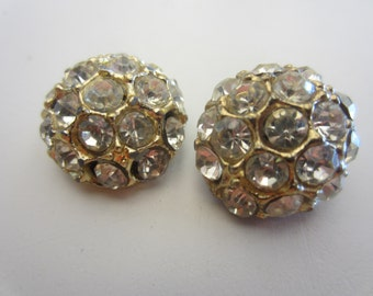 Vintage Buttons - 2 beautiful domed,  rhinestone embellished, antique gold finish metal (mar 398)