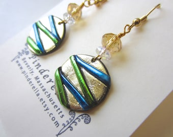 Modern gold, chartreuse green, and blue Round Earrings with pale gold multi faceted beads