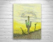 Cactus Sunset, Digital Art, Cacti, Desert Art, Southwest Art, Psychedelic Art, Arizona Art, Yellow, Gold, Murray Bolesta, MurrayBolesta