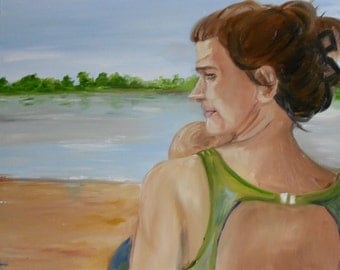 Mother and Child Original Oil Painting Landscape Portrait Summer Beach Lake