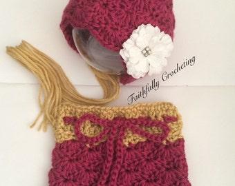 Newborn pixie hat... Skirt set.. Photography prop.. Ready to ship