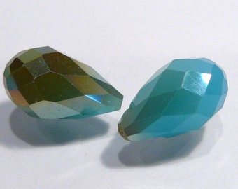 Blue Turquiose AB  Glass Faceted Briolette Teardrop Beads...14x8mm....2 Beads