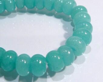 Light Cyan Green Jade Rondelle Smooth Gemstone Beads....10mm....6 Beads