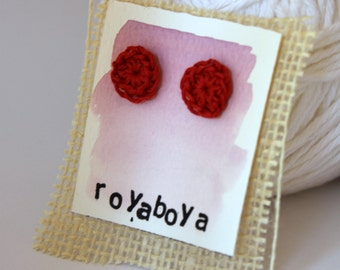 red crochet earrings round stud nickel free post bridesmaid mothers day gift