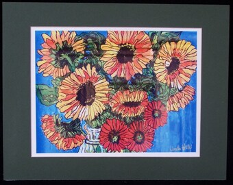 Print of my Original painting of sunflower bouquet with signed matt  Linda Kelly