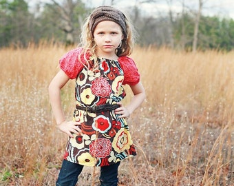 Girl Clothing - Peasant Dress - Girl Dress -  Mocca in Bloom