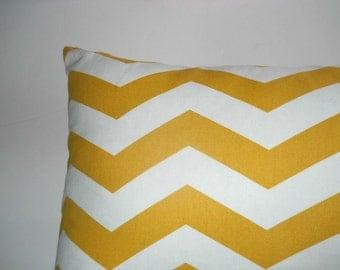 Decorator,toss,throw pillow cover, yellow n white chevron, 22 lg x 14 w.