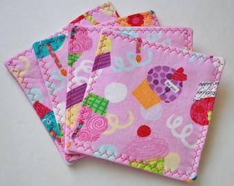 Fabric Coaster Set/Cupcakes
