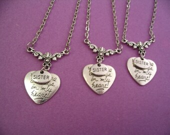 Heart Necklaces 3 Sisters Gift You are Always In My Heart