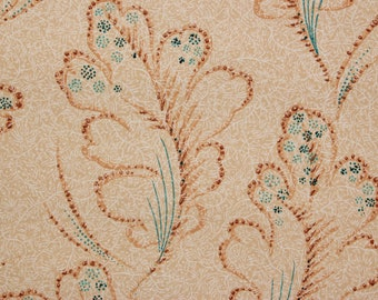 1920's Vintage Antique Wallpaper Leaves with Aqua and Beige--Made in England