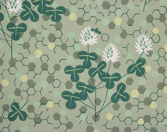 1950s Vintage Wallpaper White Clover Bee Honeycomb On Green By The Yard