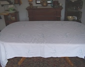 Embroidered cotton dinner cloth blue floral center medallion wedding cloth 64X120 tablecloth