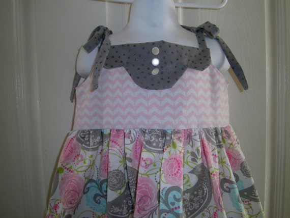 Girls Summer Party Sundress, Pink, Gray, Birds, Size 1-10, Cotton