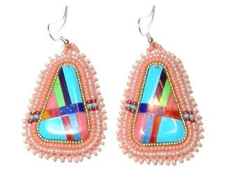 Beaded seed bead earrings
