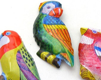 3 Tin Toy BIRD brooches, 60s Japanese metal toy costume jewelry, Rosella, Parrot, Finch.