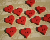 """Red Heart Buttons - Bulk Buttons Hearts Button - 15/16"""" - 9 Buttons - VALENTINES DAY BUTTONS"""