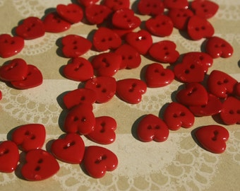 "Red Heart Buttons - Bulk Buttons Hearts Sewing Button - 3/8"" - 50 Buttons - VALENTINES DAY BUTTONS"
