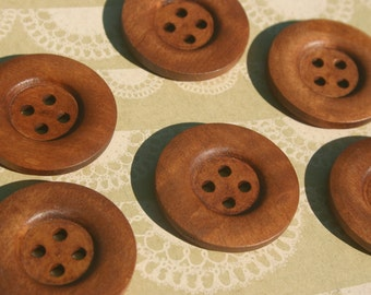 "Large Wood Buttons - Big Wooden Button - Bulk Buttons Sewing - 1 3/8"" - 12 Buttons"